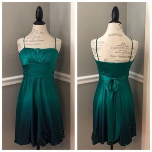 GREEN SATIN SEQUIN SHIMMER PARTY DRESS